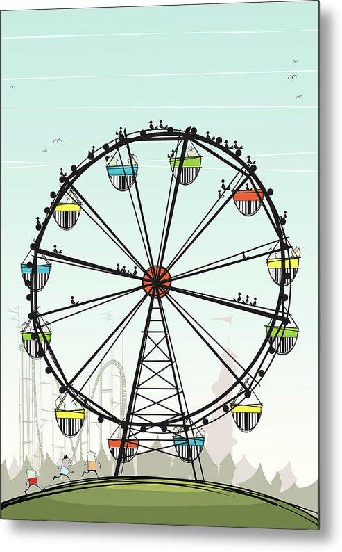 Grass Metal Print featuring the digital art Ferris Wheel by Jcgwakefield