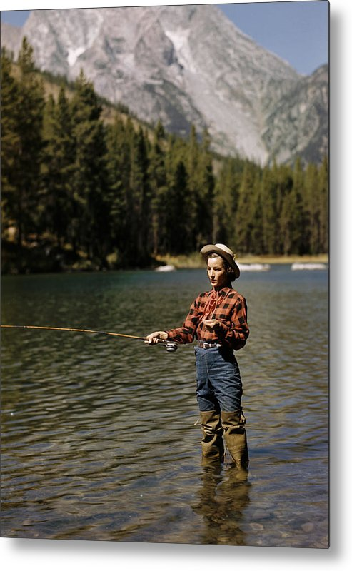 Timeincown Metal Print featuring the photograph Fishing For Trout by Alfred Eisenstaedt