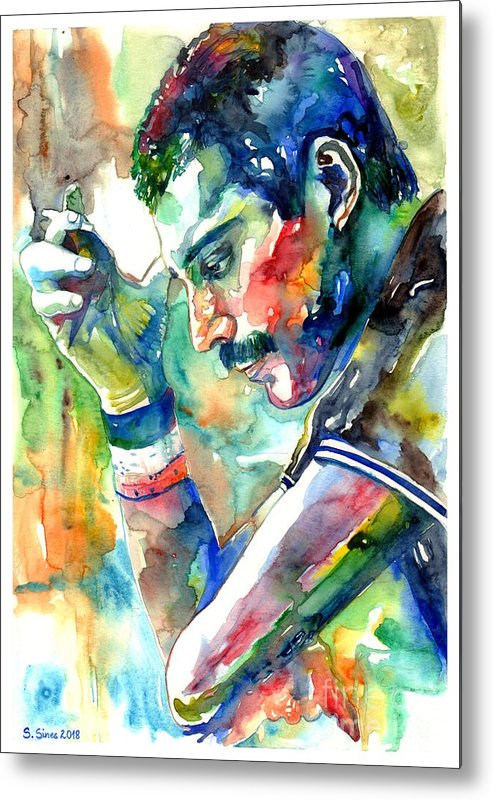 Freddie Mercury Metal Print featuring the painting Freddie Mercury With Cigarette by Suzann Sines