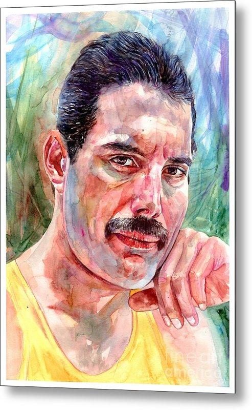 Freddie Mercury Metal Print featuring the painting Freddie - The Thinker by Suzann Sines