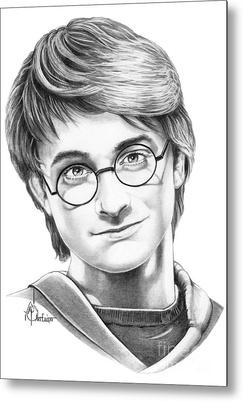 Drawing Metal Print featuring the drawing Harry Potter by Murphy Elliott
