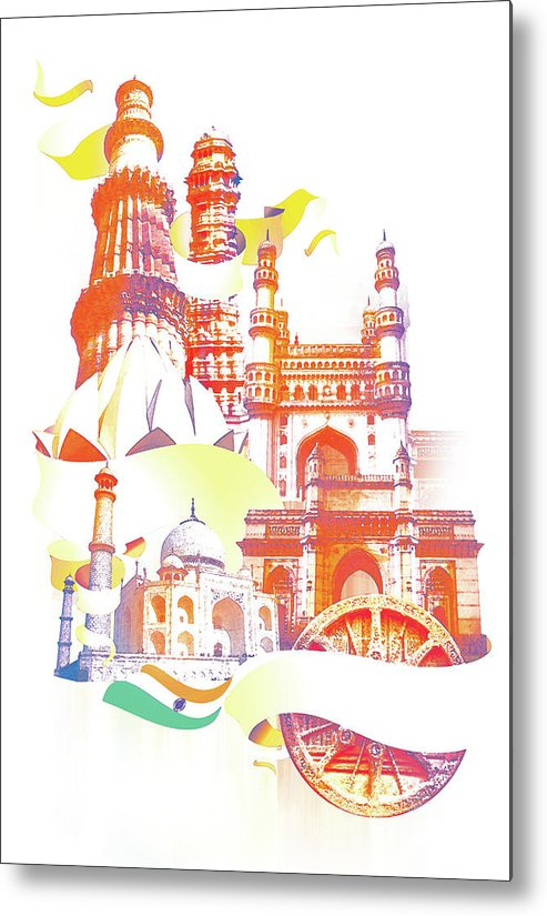 Architectural Feature Metal Print featuring the digital art Indian Monuments Collage by Anand Purohit