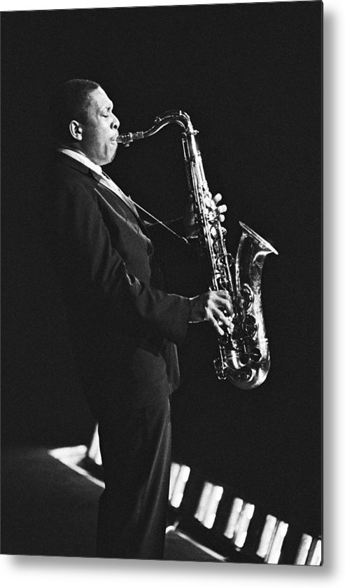 Concert Metal Print featuring the photograph John Coltrane In Paris, France In 1963 - by Herve Gloaguen