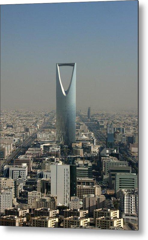 Looking Metal Print featuring the photograph Kingdom Center In Riyadh, Saudi Arabia by Eric Lafforgue