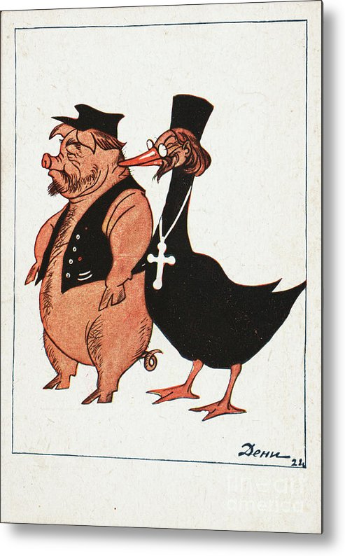 Defamation Metal Print featuring the drawing Kulak And Priest by Heritage Images