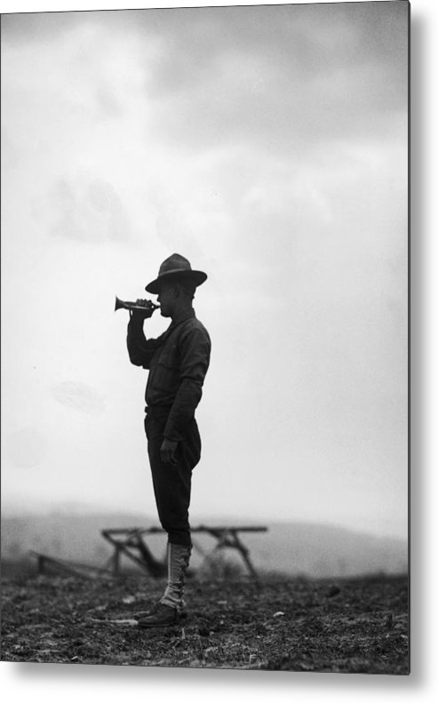 People Metal Print featuring the photograph Lone Bugler by Fpg
