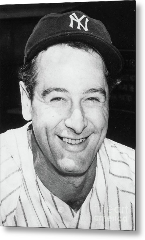 People Metal Print featuring the photograph Lou Gehrig Close Portrait by Transcendental Graphics