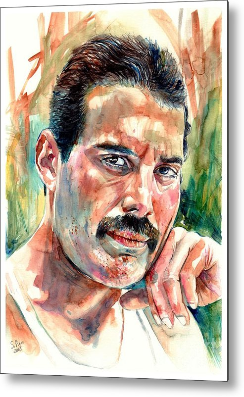 Freddie Mercury Metal Print featuring the painting No One But You - Freddie Mercury Portrait by Suzann Sines