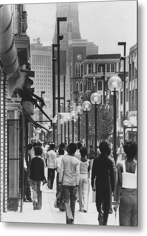 Baltimore Metal Print featuring the photograph People Walking Before Baltimore Mall by Afro Newspaper/gado