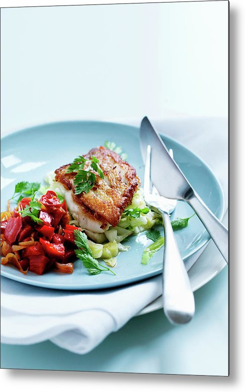 White Background Metal Print featuring the photograph Plate Of Fried Fish And Salad by Line Klein
