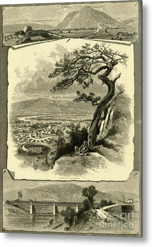 Engraving Metal Print featuring the drawing Port Jervis And Vicinity by Print Collector