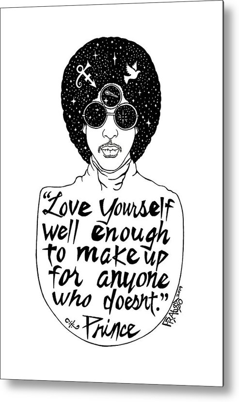 Pen And Ink Illustration Metal Print featuring the drawing Prince Drawing by Rick Frausto