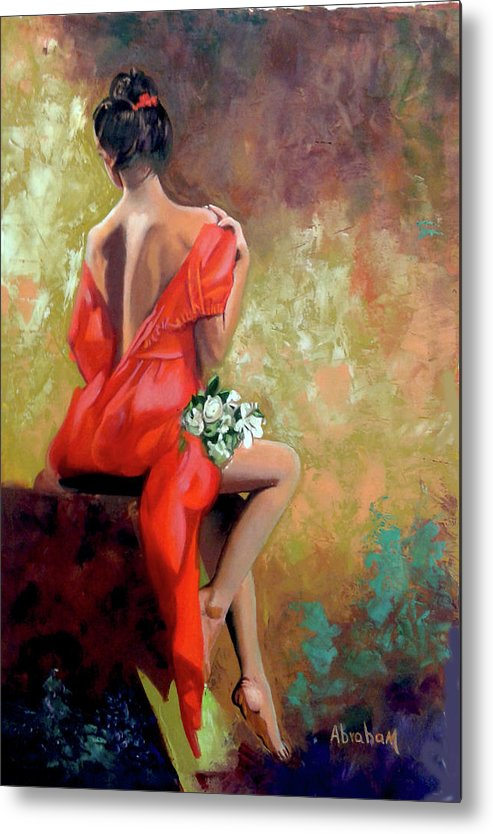 Women Metal Print featuring the painting Red Lady 2 by Jose Manuel Abraham
