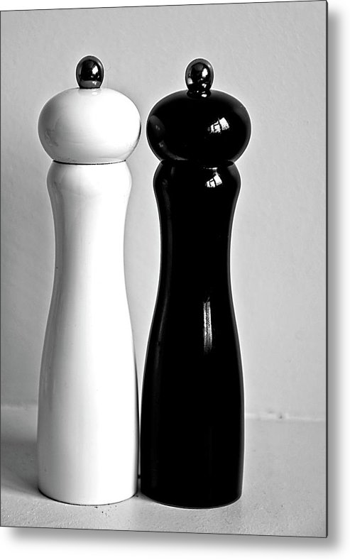 Black Color Metal Print featuring the photograph Salt & Pepper by Daniela White Images