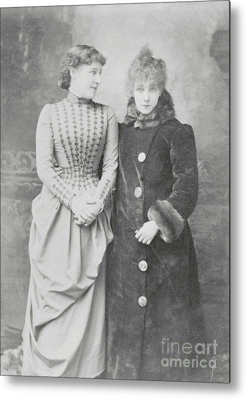 Sarah Bernhardt Metal Print featuring the photograph Sarah Bernhardt With Lillie Langtry by Bettmann