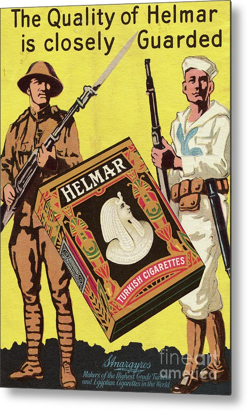 Art Metal Print featuring the photograph Servicemen Advertising Helmar Cigarettes by Bettmann