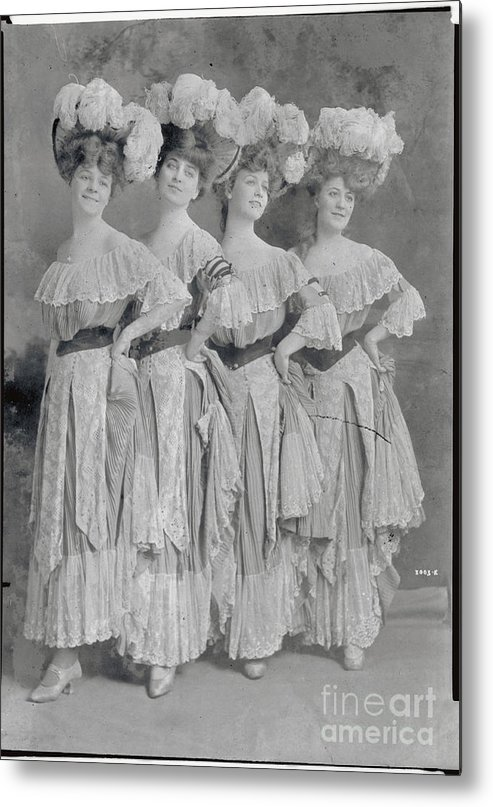 People Metal Print featuring the photograph Showgirls Wearing Typical Stage Attire by Bettmann