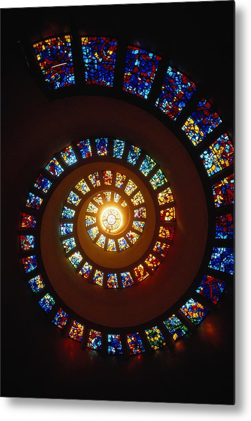 Directly Below Metal Print featuring the photograph Stained Glass Window, Thanksgiving by John Elk Iii