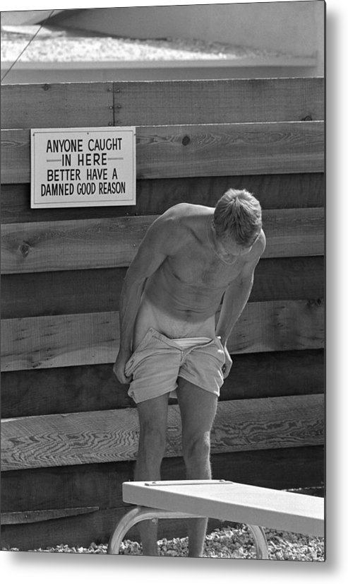 Timeincown Metal Print featuring the photograph Steve Mcqueen Undresses Outdoors by John Dominis