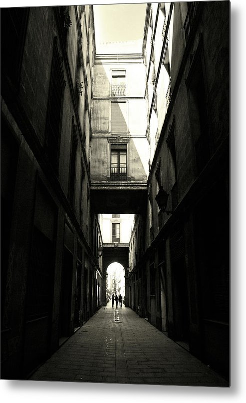 Arch Metal Print featuring the photograph Street In Barcelona by Maria Fernandez