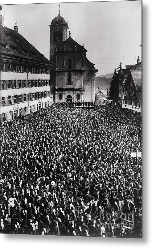 People Metal Print featuring the photograph Swiss Open Air Meeting by Bettmann