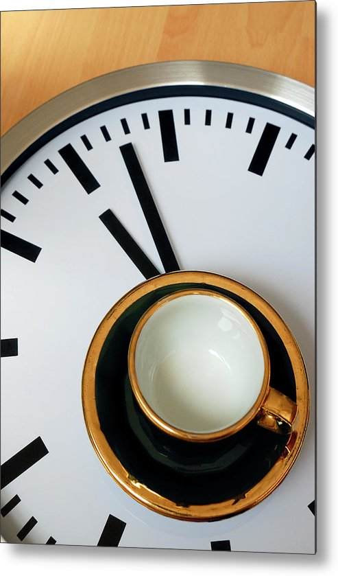 Coffee Metal Print featuring the photograph Teacup On A Clock by Eversofine