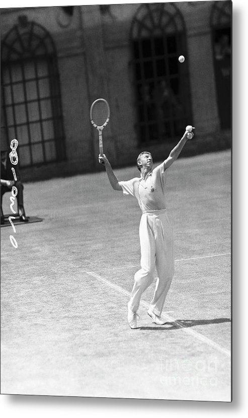 Playoffs Metal Print featuring the photograph Tennis Player Don Budge Serving Tennis by Bettmann