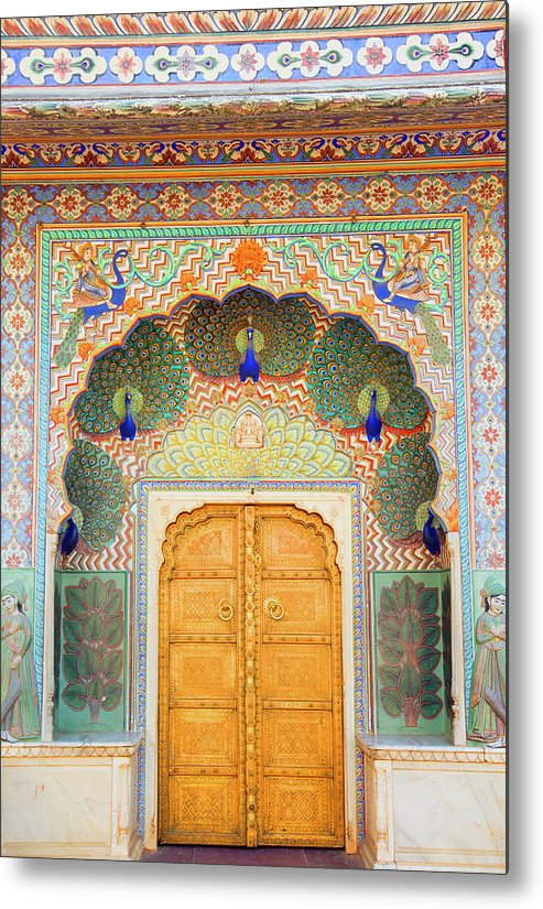 Arch Metal Print featuring the photograph View Of Peacock Door In Palace by Grant Faint