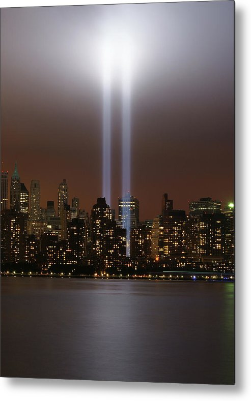 Tranquility Metal Print featuring the photograph World Trade Center Tribute In Light by Gregory Adams