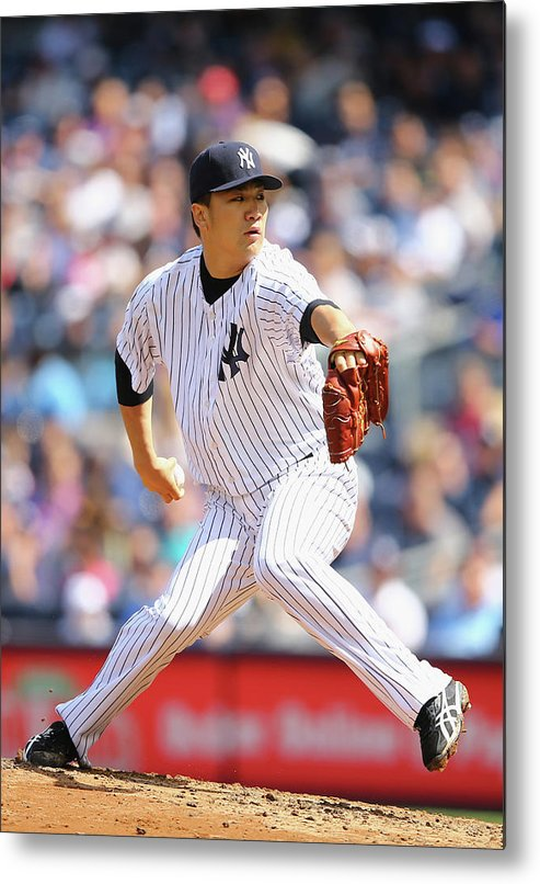 American League Baseball Metal Print featuring the photograph Masahiro Tanaka by Al Bello