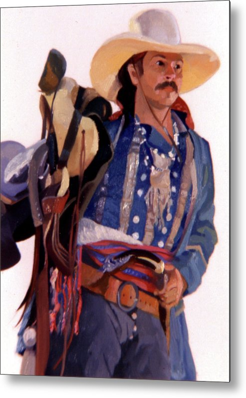 Mountain Men Metal Print featuring the painting Taos Trader by Betty Jean Billups