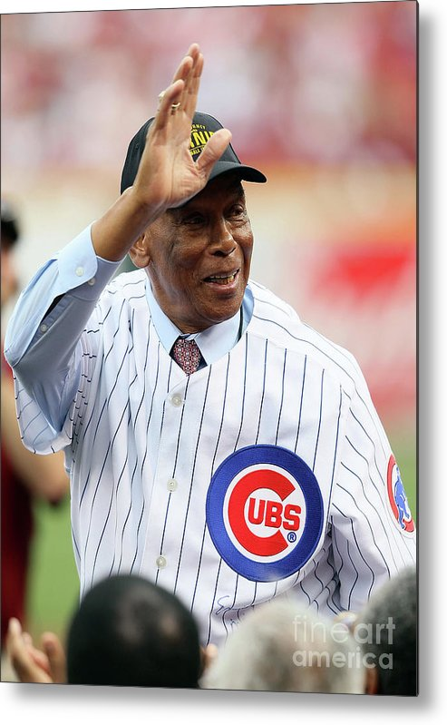 Great American Ball Park Metal Print featuring the photograph Ernie Banks by Andy Lyons