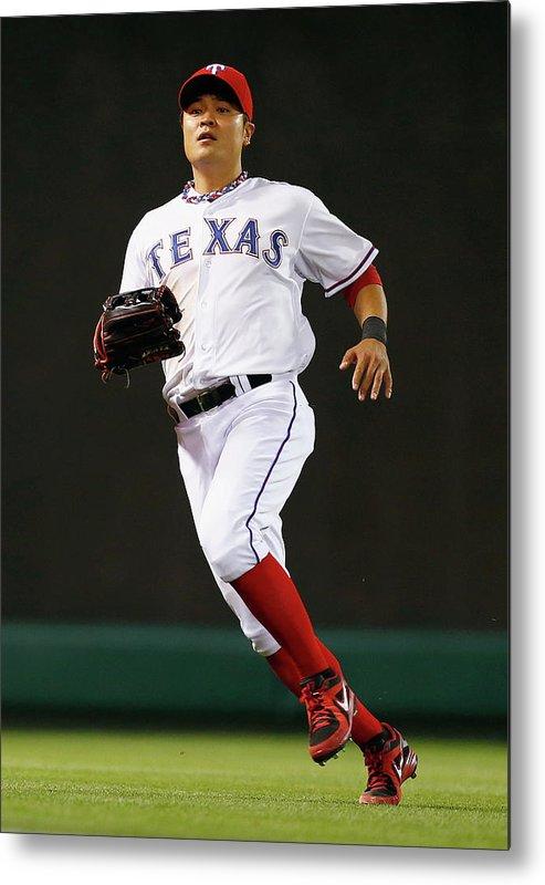 American League Baseball Metal Print featuring the photograph Shin-soo Choo by Tom Pennington