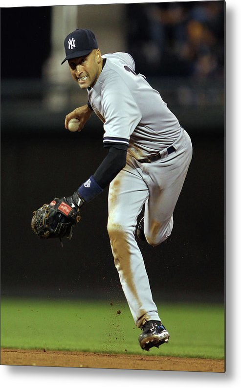 Derek Jeter Metal Print featuring the photograph Derek Jeter by Jamie Squire