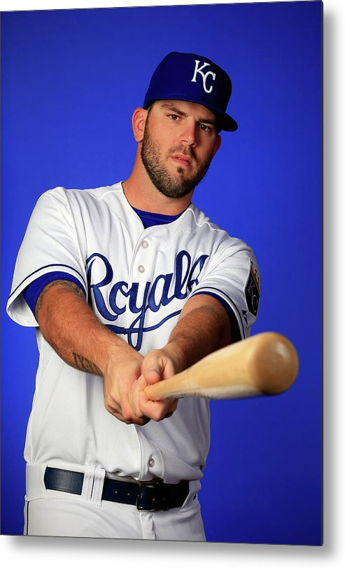 Media Day Metal Print featuring the photograph Mike Moustakas by Jamie Squire