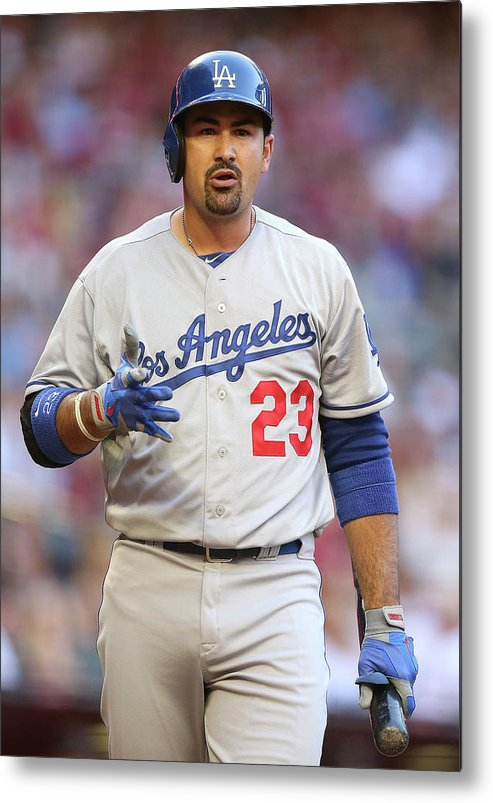 Los Angeles Dodgers Metal Print featuring the photograph Adrian Gonzalez by Christian Petersen