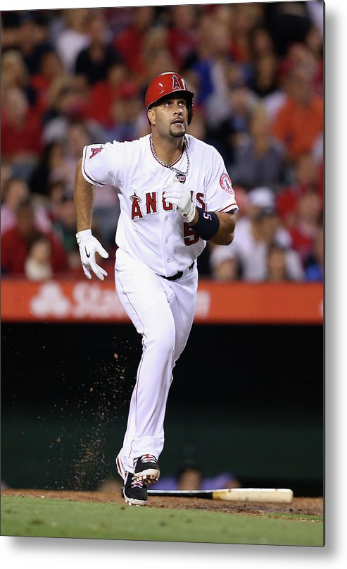 American League Baseball Metal Print featuring the photograph Albert Pujols by Jeff Gross