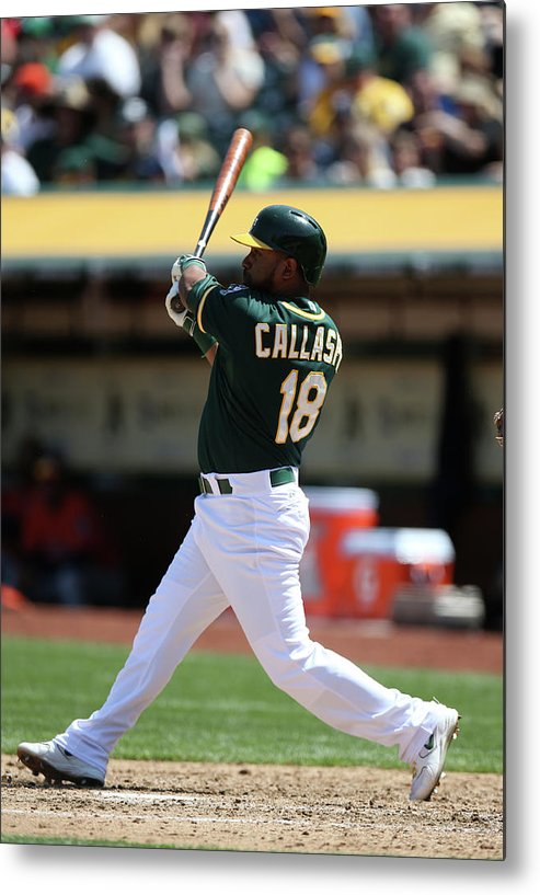 American League Baseball Metal Print featuring the photograph Alberto Callaspo by Brad Mangin