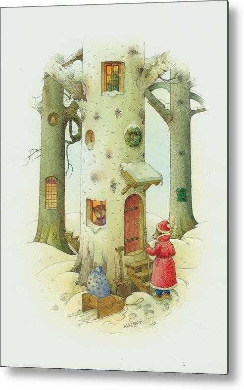 Christmas Metal Print featuring the painting Bears Christmas by Kestutis Kasparavicius