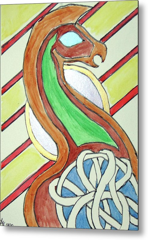 Dragon Metal Print featuring the painting Celtic Dragon by Loretta Nash