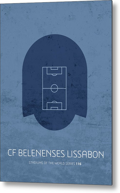 Cf Metal Print featuring the mixed media Cf Belenenses Lissabon Stadium Football Soccer Minimalist Series by Design Turnpike