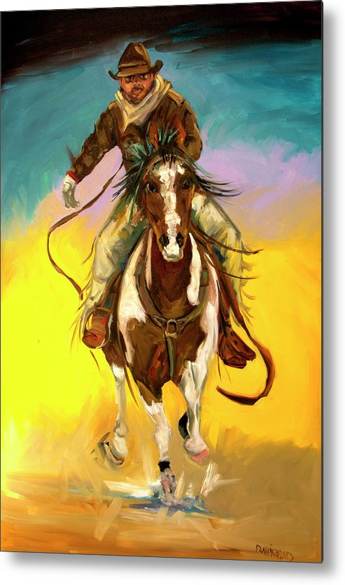 Cowboy Metal Print featuring the painting Coming at You by Diane Whitehead