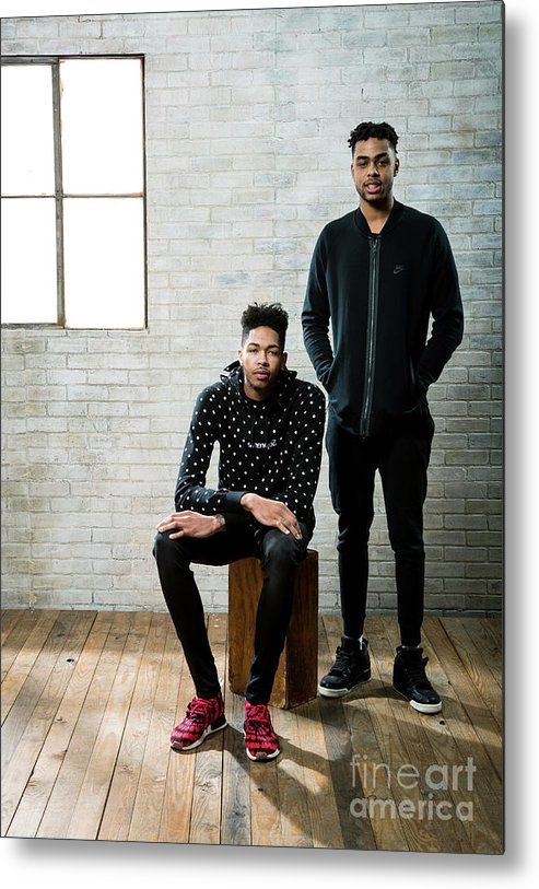 Nba Pro Basketball Metal Print featuring the photograph D'angelo Russell and Brandon Ingram by Nathaniel S. Butler