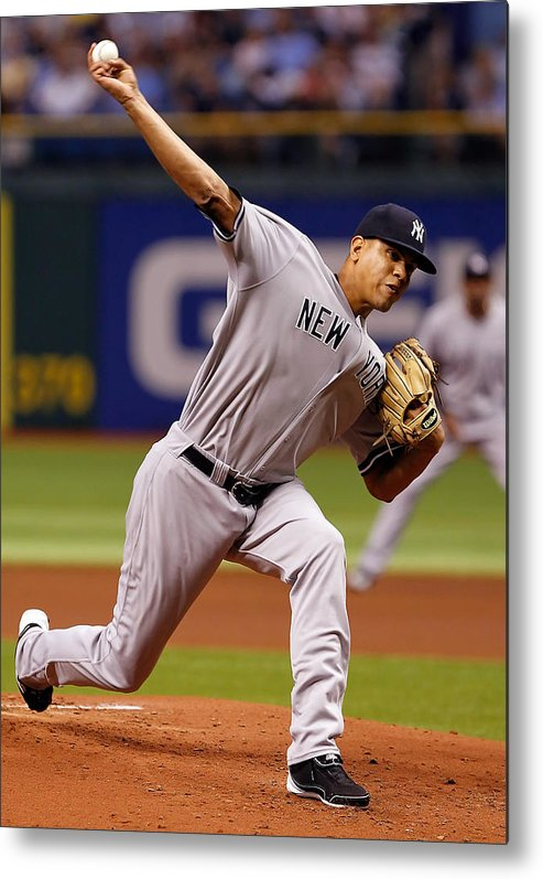 American League Baseball Metal Print featuring the photograph Dellin Betances by J. Meric