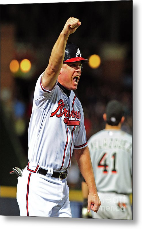 Atlanta Metal Print featuring the photograph Freddie Freeman and Chipper Jones by Scott Cunningham