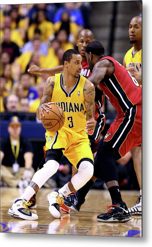Playoffs Metal Print featuring the photograph George Hill and Lebron James by Andy Lyons
