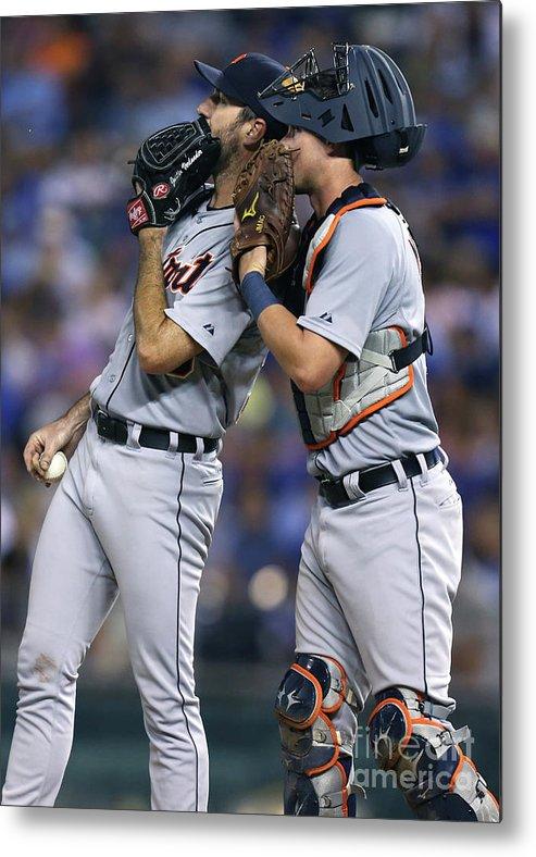 American League Baseball Metal Print featuring the photograph James Mccann and Justin Verlander by Ed Zurga