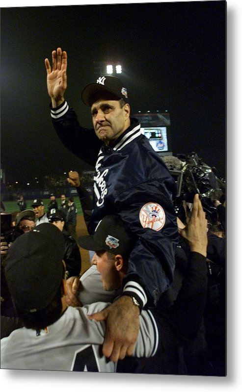 Celebration Metal Print featuring the photograph Joe Torre by Jed Jacobsohn