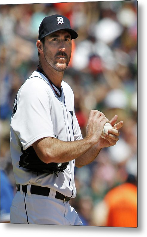 Working Metal Print featuring the photograph Justin Verlander and Juan Francisco by Duane Burleson