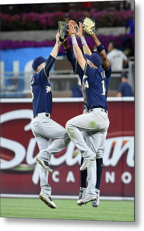 People Metal Print featuring the photograph Keon Broxton and Ryan Braun by Denis Poroy